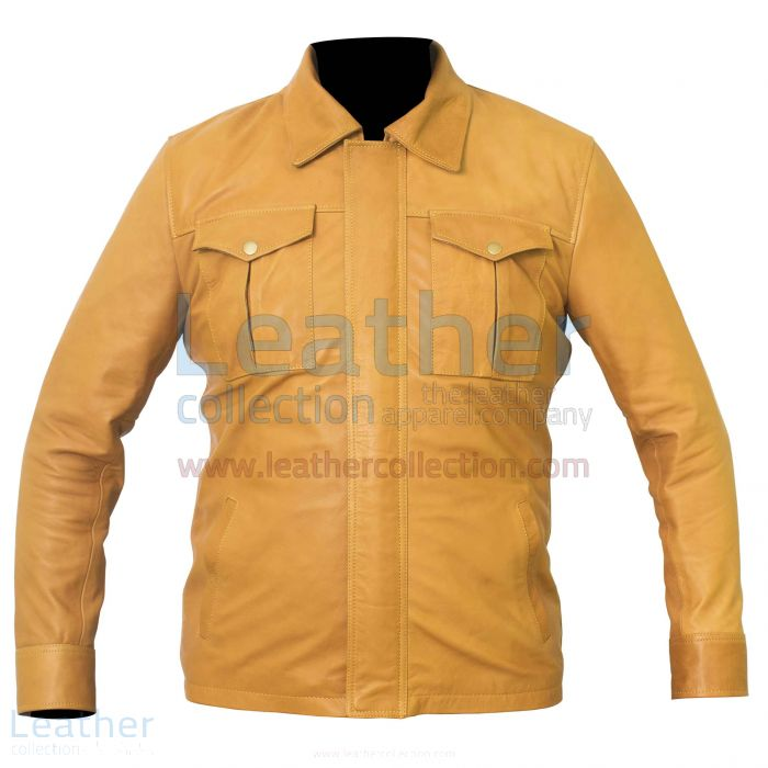 Shirt Style Camel Color Leather Jacket front