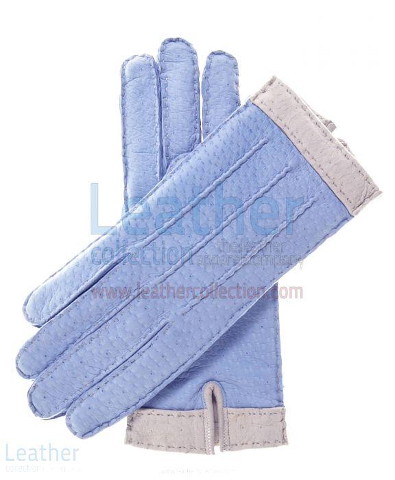 Himmelblaue Lammfell Handschuhe fur Frauen mit Wollfutter obere Ansicht
