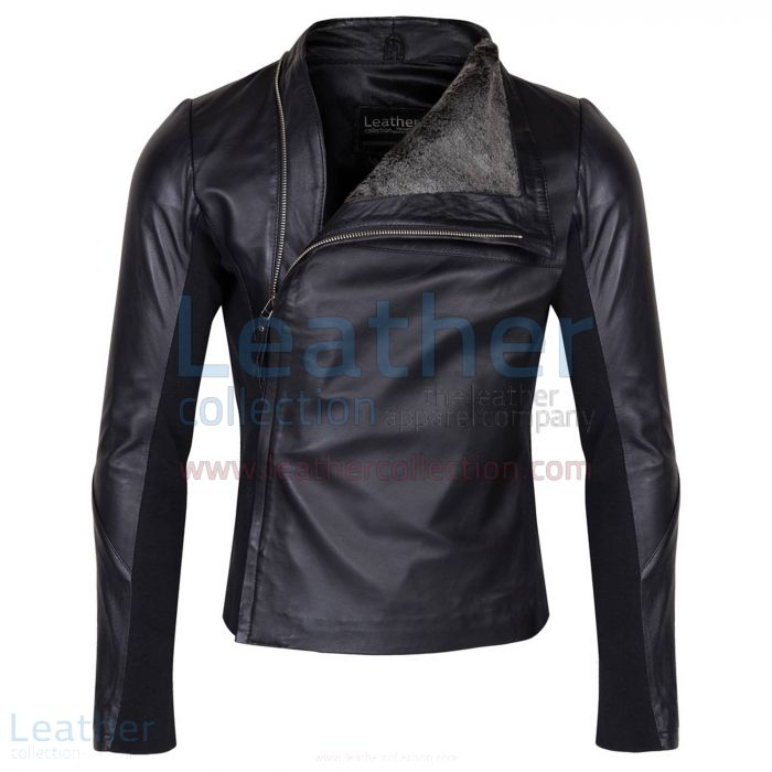 Slim & Smart Leather Jacket with Fur Lining front view