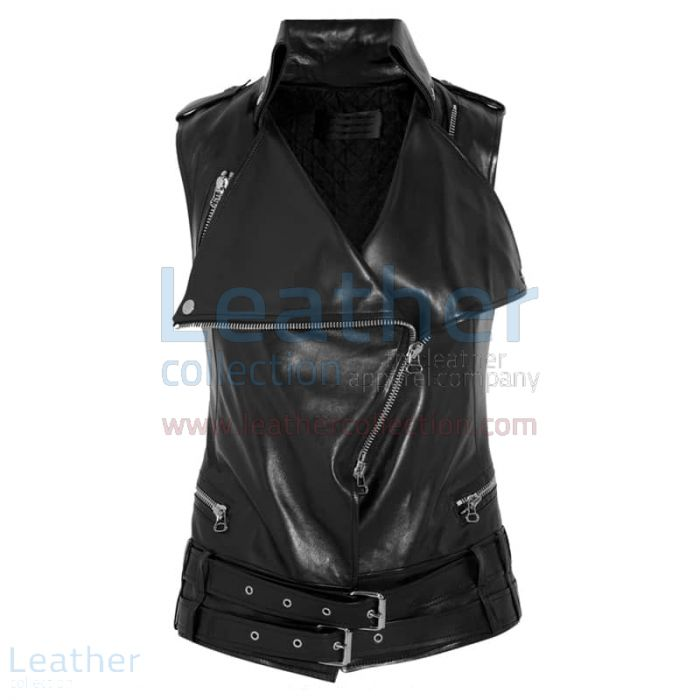 Smart Ladies Leather Vest front view