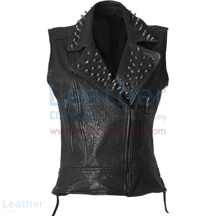 Spiked Fashion Leather Vest front