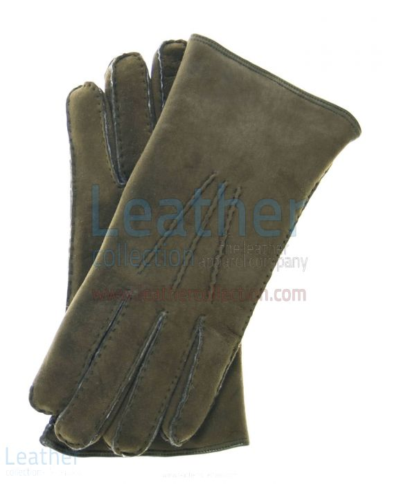 Sueded Lamb Shearling Olive Fashion Gloves upper view