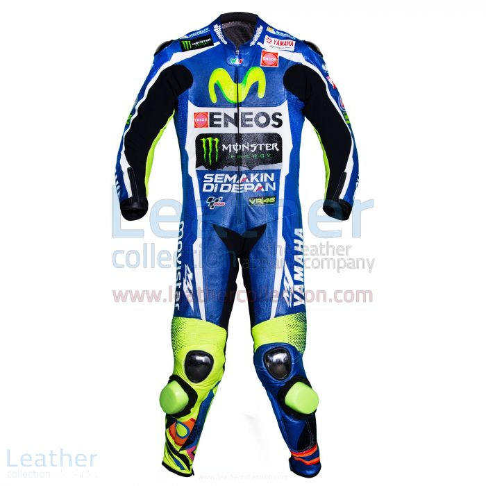 Valentino Rossi Movistar Yamaha Le Mans MotoGP 2016 Anzug Vorderansicht