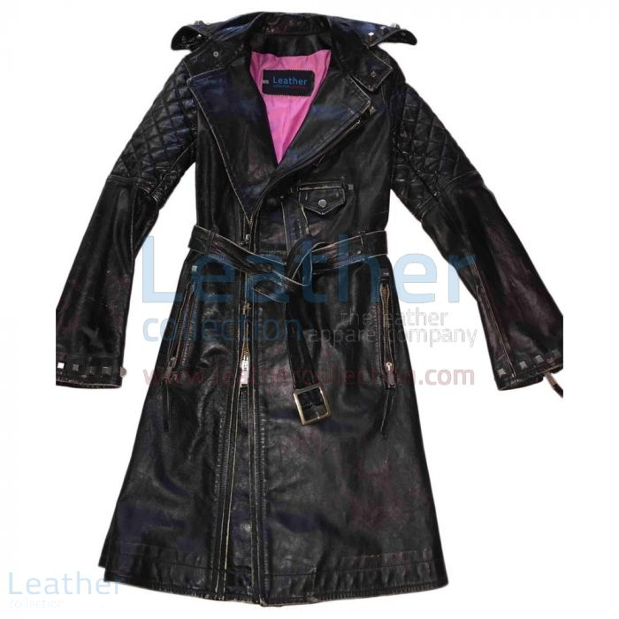 Vintage Leather Belted and Studded Coat Ladies front view