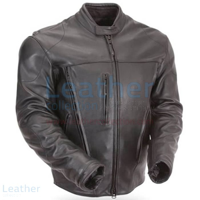 Waterproof Armored Protective Leather Motorcycle Jacket Front View