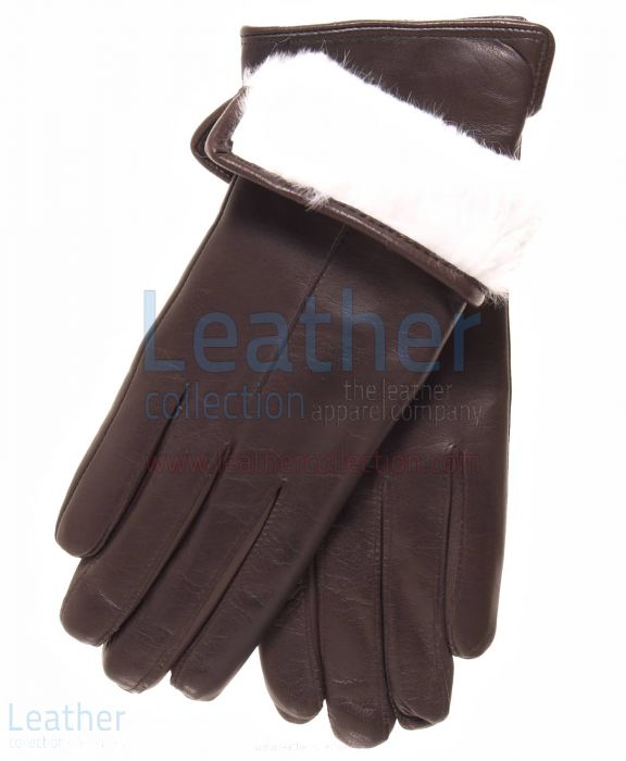 Womens Leather White Fur Lined Gloves Upper View