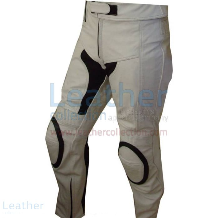 White Motorcycle Touring Pants front view