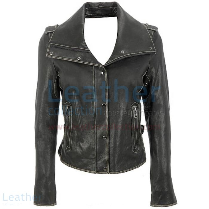 Wing collar jacket leather front view