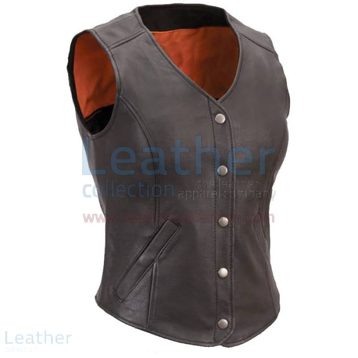 Women Black Leather Motorcycle Vest Front View