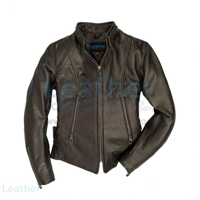 Womens Cafe Racer Leather Jacket front view