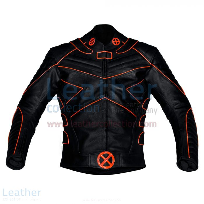 X-Men Motorbike Leather Mens Riding Jacket with Orange Piping Front View