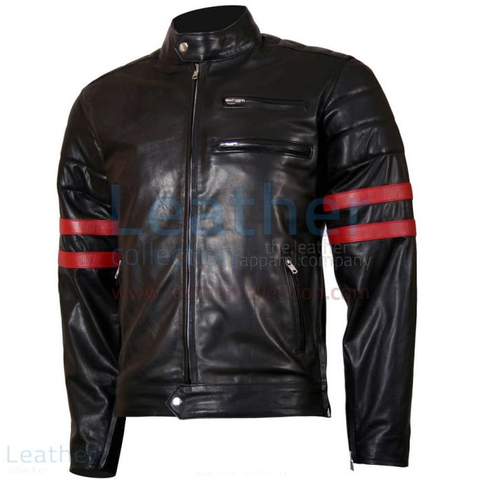 X-Men Wolverine Black with Red Strips Biker Leather Jacket front view