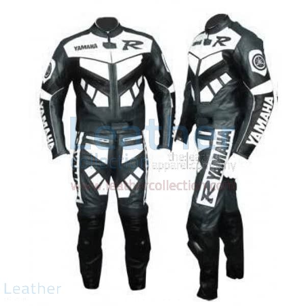 Yamaha R Racing Leather Suit Gun Metal front and back