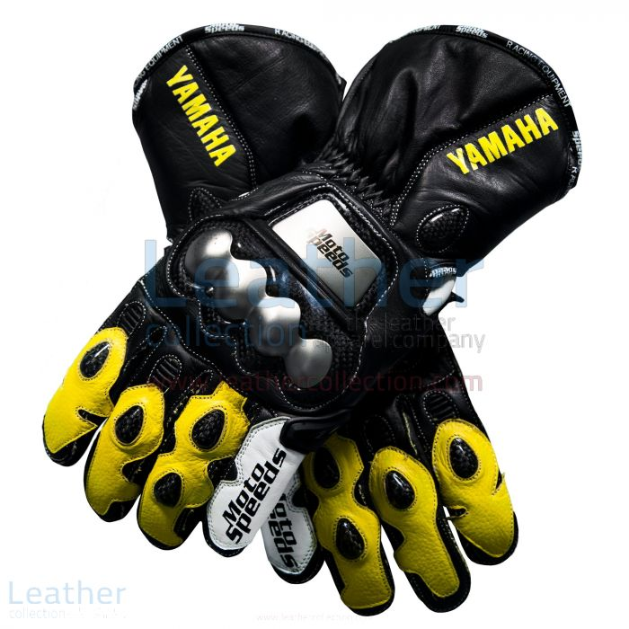 Yamaha Racing Leather Motorcycle Gloves Yellow upper view