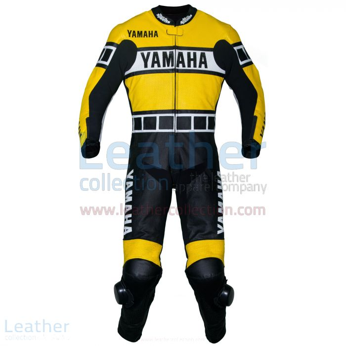 Yamaha Renn Leder Anzug Gelb Vorderansicht